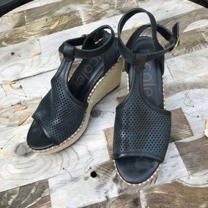 Nicole Shoes - Nicole Black Wedge/Espadrille
